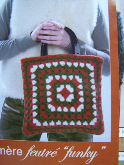 Crochet Pattern Wool Felted Granny Purse Bag USA 1 Cent S&H