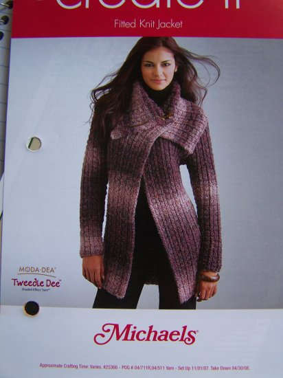 Misses Juniors Knitting Pattern Fitted Sweater Jacket XXS XS S M L XL 1 Cent USA S&H