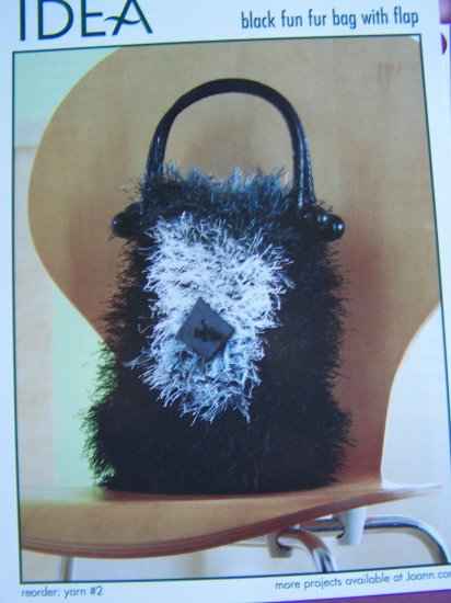 Knitting Pattern Fun Fur Purse Bag With Flap 1 Cent USA Shipping