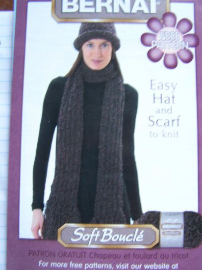 Knitted Winter Hat Long Fringe end Scarf Knitting Pattern Ladies Sz 1 Cent USA S&H