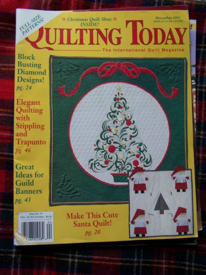 Quilting today Pattern Magazine # 39 Dec 1993 Christmas Quilt Patterns