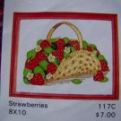 Vintage Artistic Needle Embroidery Pattern Graph Basket of Strawberries # 117C USA 1 Cent S&H