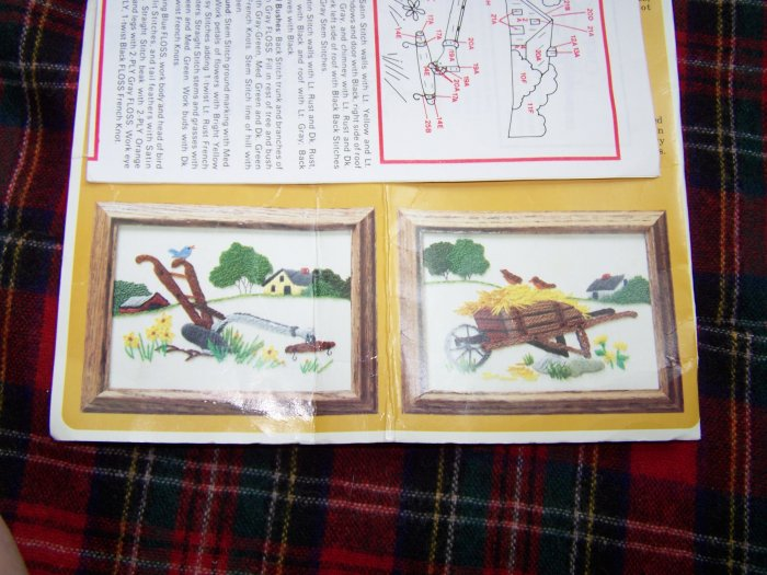 Vintage Embroidery Kit #0036 Creative Circle Plow Wheelbarrow Country Scene