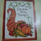 Vintage 1986 Creative Circle Cross Stitch Horn Of Plenty Thanksgiving Sampler