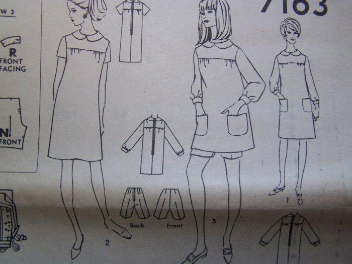 Vintage Dress Smock Top Mini or Knee Sewing Pattern 7163 Bust 33.5