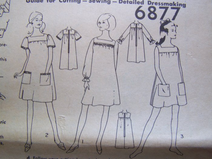 1960s Vintage Smock Top Dress Sewing Pattern 6877 Square Neck Puff Sleeves
