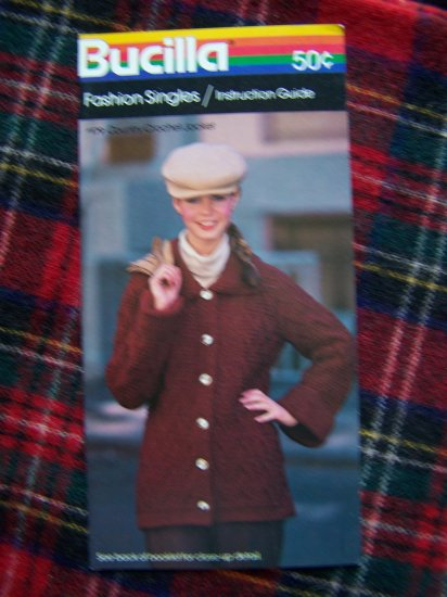 1 Cent USA S&H 1980s Vintage Bucilla Pattern Country Crochet Jacket Sweater 12 14 16 18 20 22