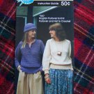 Vintage Raglan Bulky Pullover Sweaters Hat To Knit or Crochet USA 1 Cent Shipping