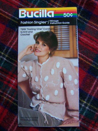 Vintage Crochet & Knitting Pattern Trailing Vine Cardigan Sweater Misses 1 Cent USA S&H
