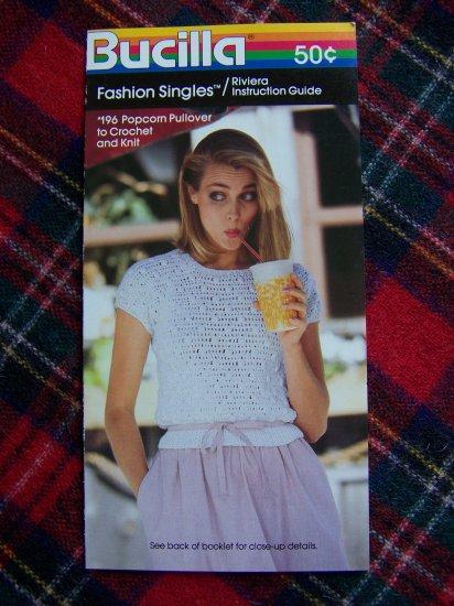 Vintage Bucilla 1980's Crochet & Knitting Pattern Popcorn Pullover Sweater Misses 10 12 14 16