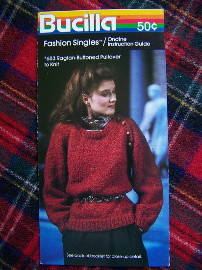 USA 1 Cent S&H Misses Vintage Knitting Pattern Bucilla Raglan Buttoned Bulky Pullover Sweater