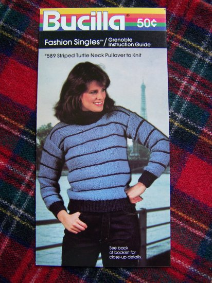 USA 1 Cent SHipping 1980's Striped Turtleneck Pullover Sweater Knitting Pattern Bucilla