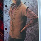 Vintage Man's Button Up Sweater Vest Knitting Pattern 1 Cent USA Shipping Special