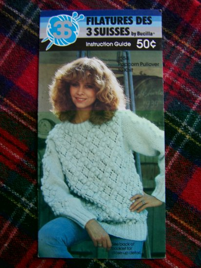 1 Cent USA S&H Bucilla Vintage Knitting Pattern Popcorn Pullover Sweater 10 12 14 16