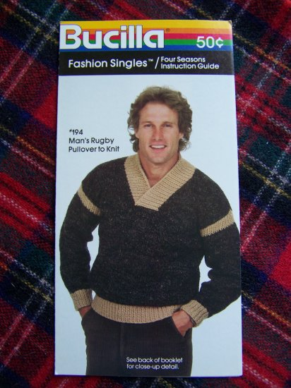 Mens Vintage Rugby Pullover Sweater Knitting Pattern 38 40 42 44 USA 1 Cent S&H