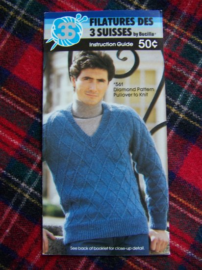 USA 1 Cent S&H Vintage Bucilla Knitting Pattern Mens Diamond Pullover Sweater