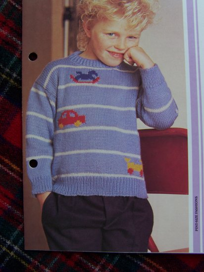 Boys Vintage Toy Striped Pullover Sweater Knitting Pattern 4 5 6 7 8 10 years