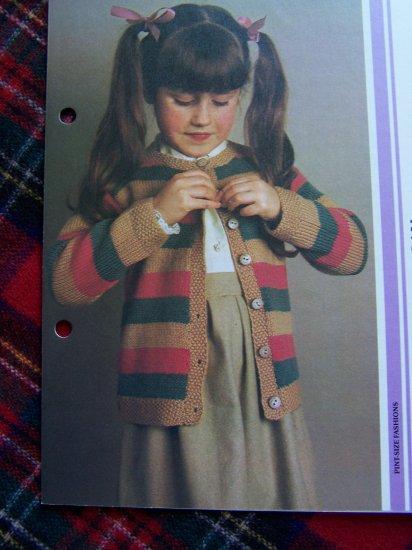 Girls Vintage KNitting Pattern Striped Cardigan Sweater 4 6 7 8 9 10 11 12
