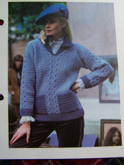 Vintage Crocheting Pattern Misses French Sweater Patch Pockets USA 1 Cent S&H