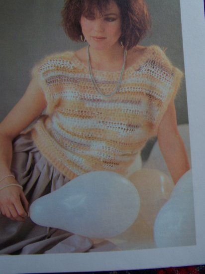 Vintage Crochet Mohair Evening Top Pearl Beads Crocheting Pattern Shipping Special