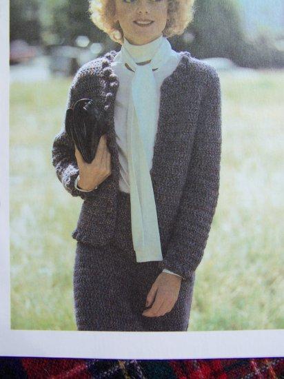 Vintage Crochet Pattern Tweed Suit Jacket and Skirt 32 34 36 38 Bust