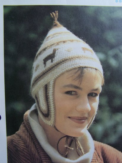 Vintage Crochet Pattern Peruvian Cap Ear Flap Hat Warm Alpaca Yarn USA 1 Cent S&H