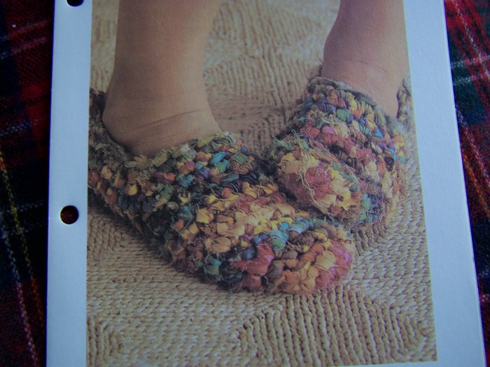 Vintage Crochet Pattern Rag Rug Slippers House SHoes USA 1 Cent S&H