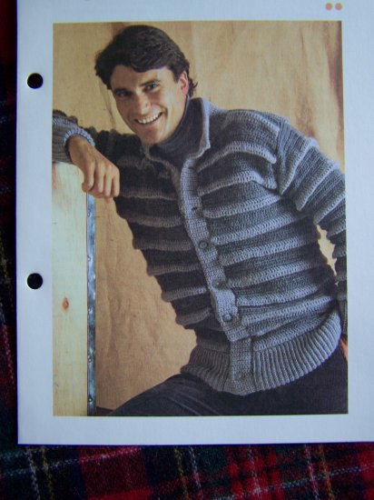 Vintage Mens Ridged Cardigan Sweater Crochet Pattern USA Shipping Special 1 Cent