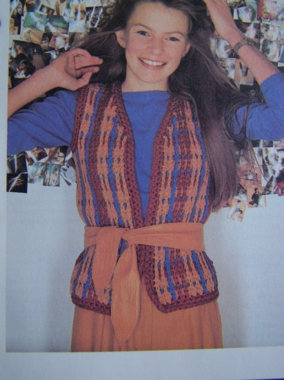 XS S Teen Misses All in One Open Front Wrap Vest Crochet Pattern