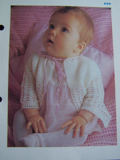 Vintage Baby Love Open Cardigan Sweater Tie Neck Lacy Sleeves Infant sizes