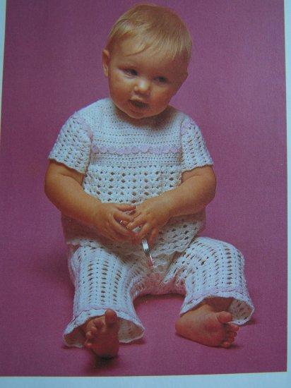 Infants Crocheted Outfit Top Pants 6 M 12 Months Vintage Crochet Pattern