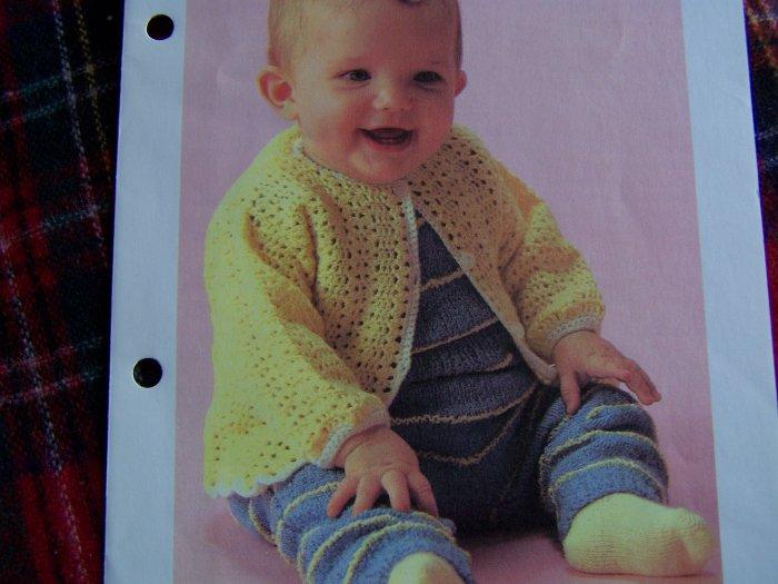 Vintage Crochet Pattern Infant Button Up Cardigan Babys Sweater 1 Cent USA S&H