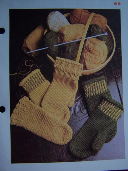 Afghan Crocheted Mittens Vintage Crochet Pattern Adult Size 3 Styles