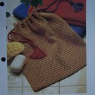 Handy Drawstring Bag Vintage Crochet Pattern USA 1 Cent Shipping Special