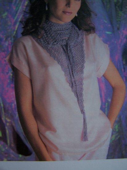 Crochet Pattern Silky Tasseled Neck Scarf Vintage USA 1 Cent S&H