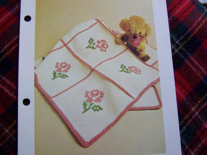 1 Cent USA S&H Vintage Baby Afghan Crochet Blanket Pattern