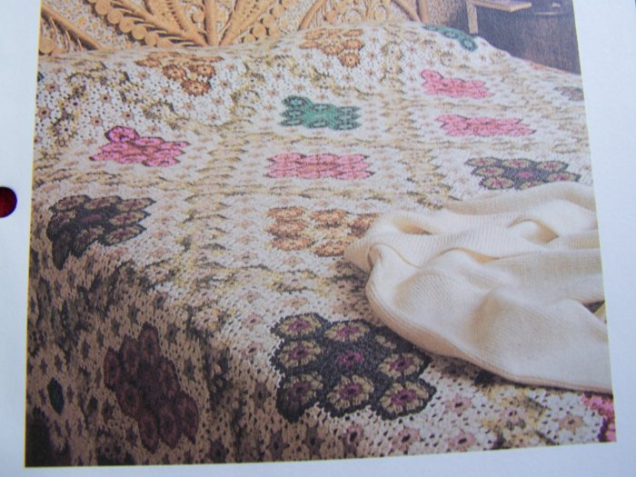 1 Cent USA S&H Vintage Crochet Pattern Diamond Hexagon Patchwork Afghan Blanket