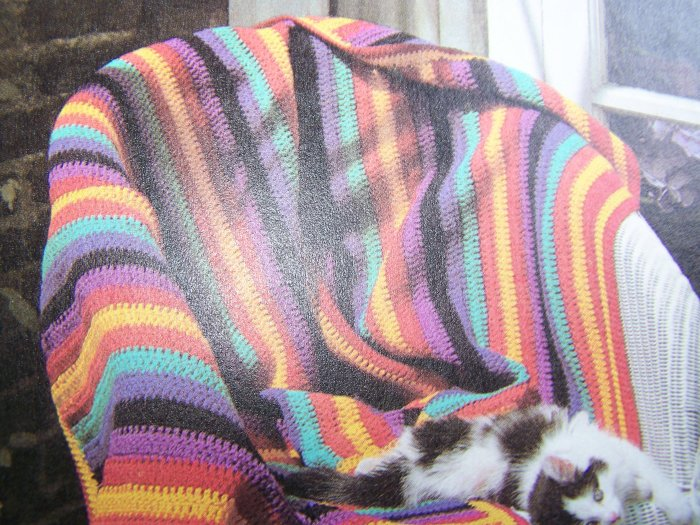 1 Cent USA Shipping  Vintage Crochet Pattern Striped Afghan Blanket