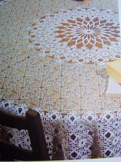 """1 Cent USA S&H Vintage Lacy Round 70""""  Tablecloth Crochet Pattern"""