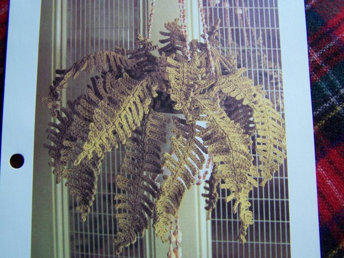 1 Cent USA S&H Vintage Crochet Pattern Hanging Fern Artificial Crocheted Plant