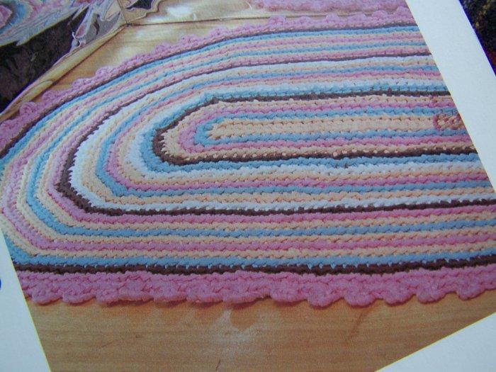 US 1 Cent S&H Vintage Crochet Oval Rag Rug Pattern Home Furnishings