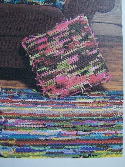USA 1 Cent S&H Vintage Crochet Pattern Hippie Shaggy Rug & Pillow