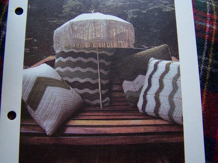 4 Vintage Chevron Throw Pillow Patterns Decorative Crochet Pattern USA 1 C S&H