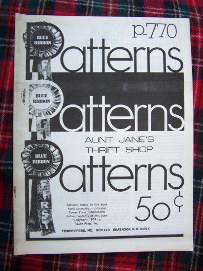 Vintage Blue Ribbon Patterns Aunt Jane's Thrift Store Pattern Crafts