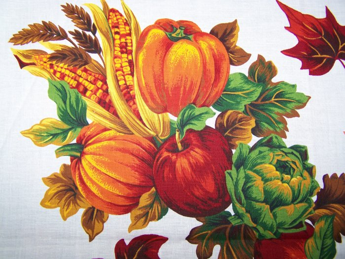 $1 USA S&H Thanksgiving Cotton Fabric Panel Fall Harvest Appliques