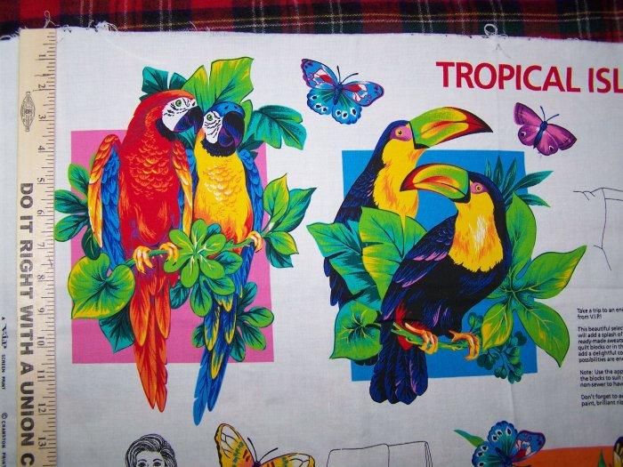 $1 USA S&H Tropical Island Appliques Cotton Fabric Panel Butterflies Birds Fish