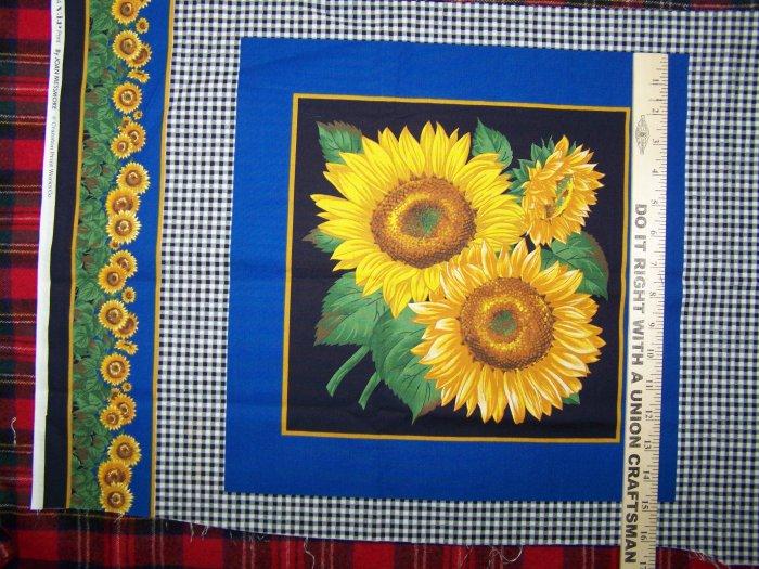 $1 USA Shipping Sunflower Cotton Fabric Panel Joan Messmore