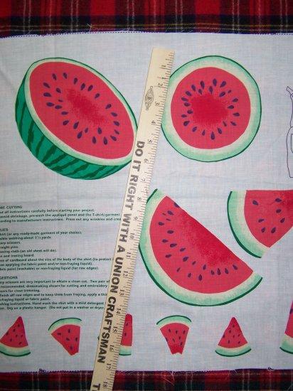$1 US S&H Vintage Watermelon Applique Cotton Fabric Panel