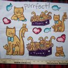 $1 USA S&H Vintage Cat Cotton Fabric Panel Purrfect Kitten Tuna Fish Cats
