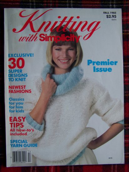 30 Vintage Knit Patterns Fall 1985 Premier Back Issue Knitting with Simplicity